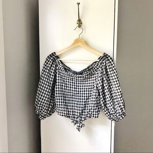 Forever 21 gingham print crop tie front blouse